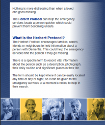 What is the Herbert Protocol? Herbert Protocl can help the emergency services locate a person quicker www.dc.police.uk/missingherbert