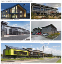 Images of exemplar/ Cornish office & employment developments: Image 15 :Hayle marine renwewables : PBWC architects. Image 16: St Austell Print Works : Image 17 : Commercial / industrial developments ( Redruth) Image 18 : Hayle Foundry : Stride Treglown Ar
