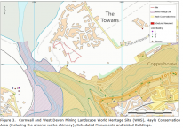 Figure 3.  Cornwall and West Devon Mining Landscape World Heritage Site (WHS), Hayle Conservation Area (including the arsenic works chimney), Scheduled Monuments and Listed Buildings