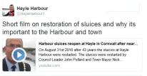 Short film on restoration of sluices and why its important to the Harbour and town