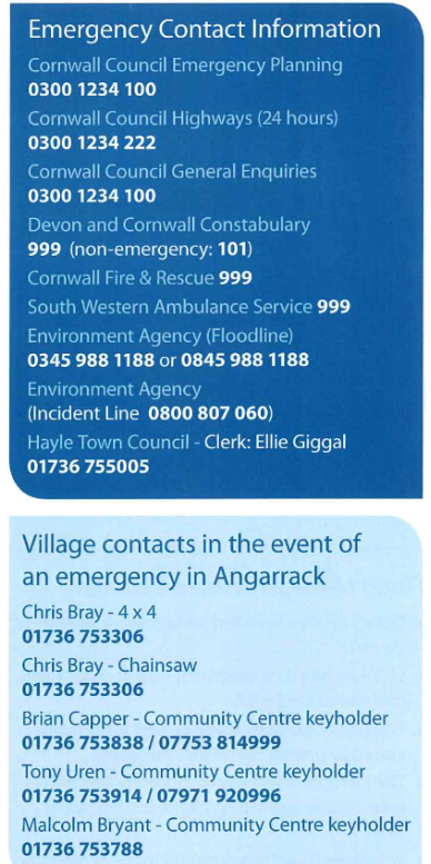 Emergency Contacts - Angarrack Flood Plan 2015