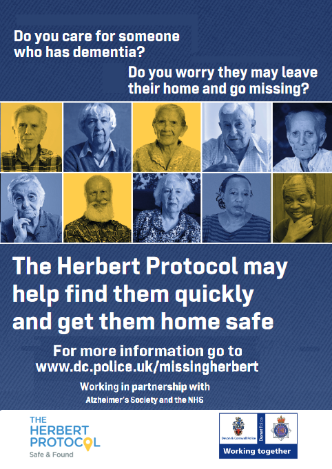 Do you care for somone who has dementia? Do you worry they may leave their home and go missing? The Herbert Protocol may help find them quickly for more information fo to www.dc.police.uk/missingherbert