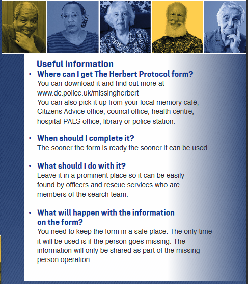 Useful information about the Herbert Protocol www.dc.police.uk/missingherbert