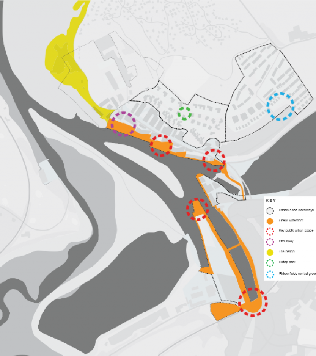 Key stretch of 'Linear Waterfront' connecting the town to the beach  and also two key areas identified within the Design Code - North Quay Entrance Space (3E), North Quay Waterfront Space (3F)