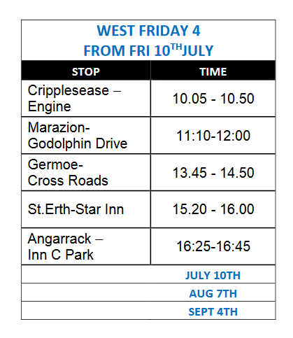 TEMPORARY MOBILE LIBRARY TIMETABLES  WEST AREA(2 & 4) FROM 7TH JULY NB subject to change/cancellation in line with government guidance